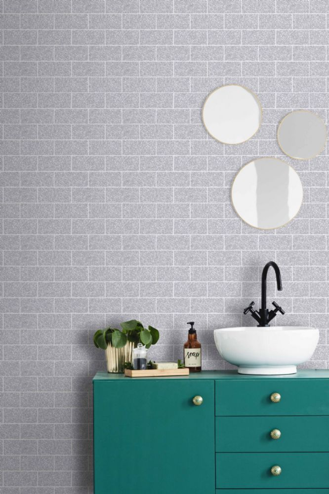 Graham and Brown Glitter Tile Silver 106630 Wallpaper PB
